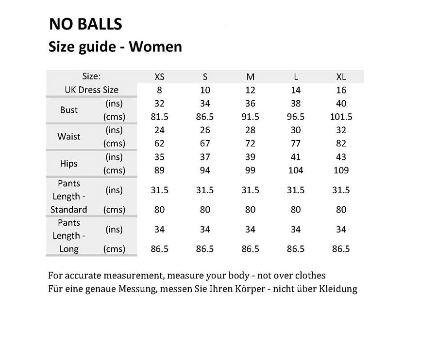 No Balls Sizing Chart