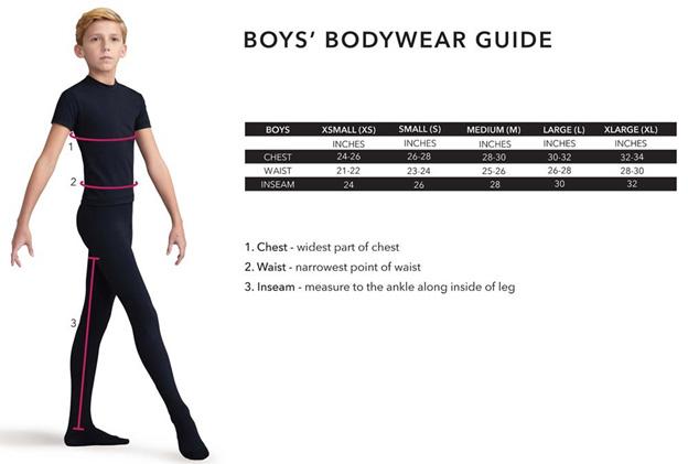 Capezio Boys Sizing Chart