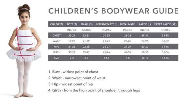 Capezio Girls Sizing Chart